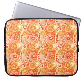 Fractal swirl pattern, shades of coral orange laptop computer sleeve