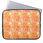 Fractal swirl pattern, shades of coral orange laptop computer sleeve