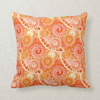 Fractal swirl pattern, shades of coral orange throw pillow