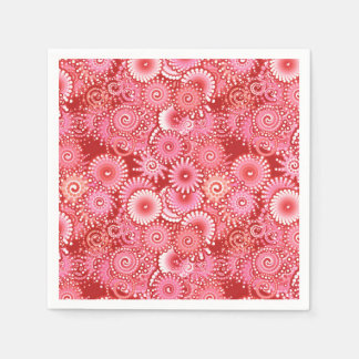 Fractal swirl pattern, shades of deep red napkin