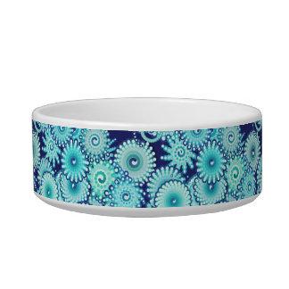 Fractal swirl pattern, shades of denim blue bowl