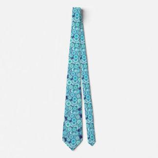 Fractal swirl pattern, shades of denim blue tie