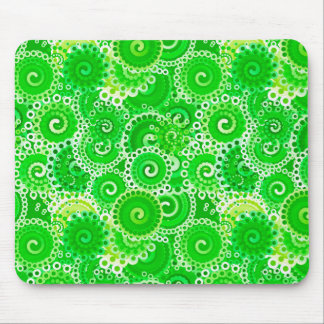 Fractal swirl pattern, shades of emerald green mouse pad