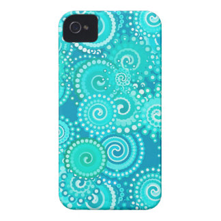 Fractal swirl pattern, shades of ocean blue iPhone 4 case