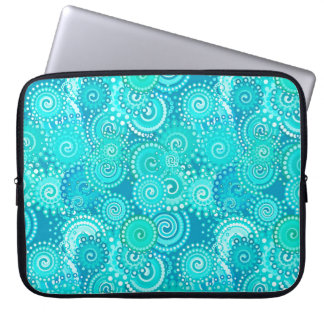 Fractal swirl pattern shades of ocean blue computer sleeves