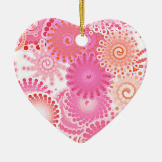 Fractal swirl pattern, shades of pink and coral ceramic ornament