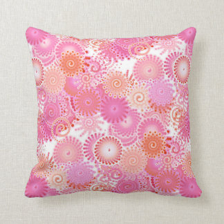 Fractal swirl pattern, shades of pink and coral throw pillow