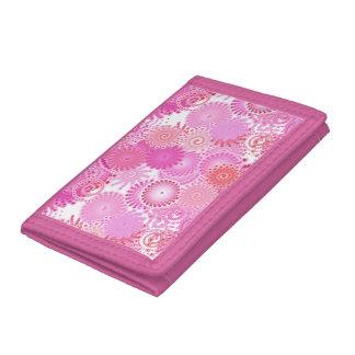 Fractal swirl pattern, shades of pink wallets