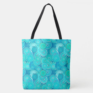 Fractal swirl pattern, shades of turquoise tote bag