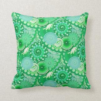 Fractal swirl pattern, turquoise, aqua, jade throw pillow