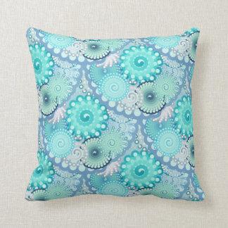 Fractal swirl pattern, turquoise, green, blue throw pillow