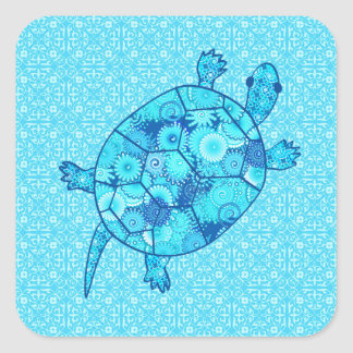 Fractal swirl turtle - cobalt and turquoise blue square sticker