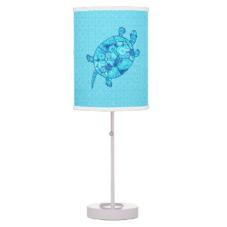 Fractal swirl turtle - cobalt and turquoise blue table lamp
