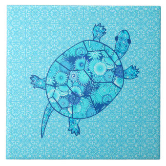 Fractal swirl turtle - cobalt and turquoise blue tile
