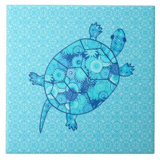 Fractal swirl turtle - cobalt and turquoise blue ceramic tiles