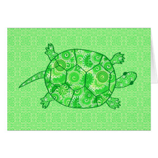 Fractal swirl turtle - lime and emerald green stationery note card
