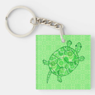 Fractal swirl turtle - lime and emerald green square acrylic key chains
