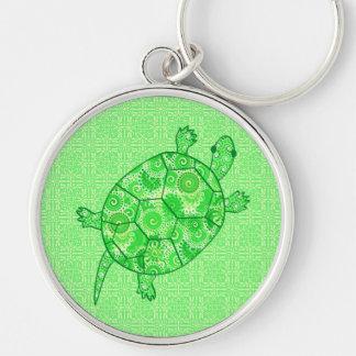 Fractal swirl turtle - lime and emerald green key chain