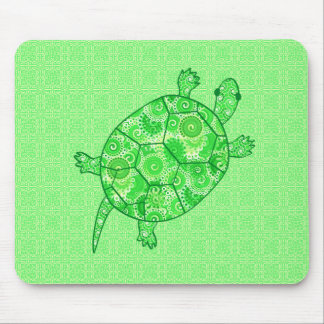 Fractal swirl turtle - lime and emerald green mouse pad