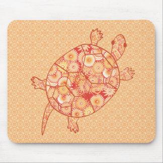 Fractal swirl turtle - shades of mandarin orange mouse pad
