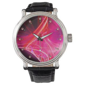 FRACTAL SWIRLS IN PURPLE pink fuchsia Wrist Watch