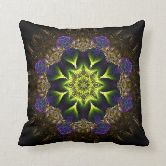 Fractal Tapestry Green Flower Cushion
