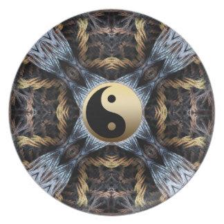 Fractal Tapestry Yin Yang Symbol  Plate