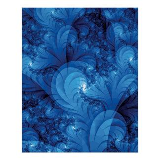 Fractal tempestuoso azul de los mares perfect poster