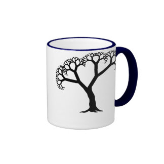 Fractal Tree Black Coffee Mugs