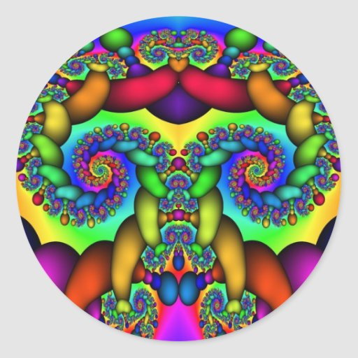 Fractal Tree of Life Round Stickers