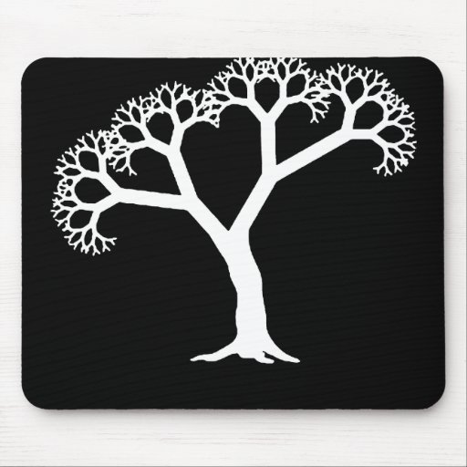 Fractal Tree White Mouse Pad