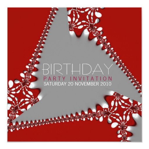 Fractal Tri-Abstract Birthday Invitation