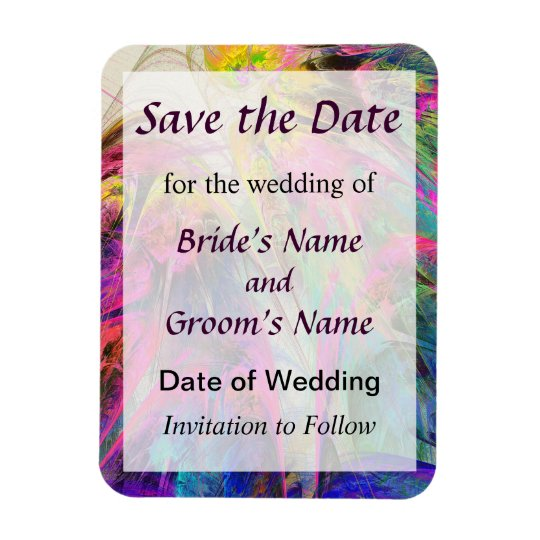 Fractal - Tropical Flowers Save the Date Magnet