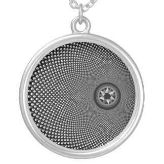 Fractal Tunnel Round Pendant Necklace