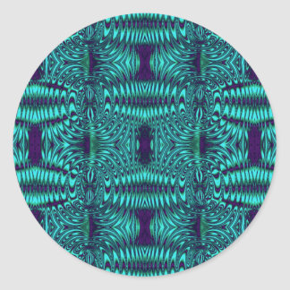 fractal turquoise classic round sticker