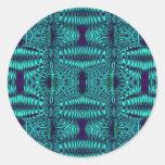 fractal turquoise round sticker