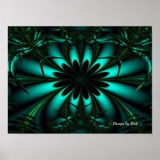 Fractal verde ciánico de la selva póster
