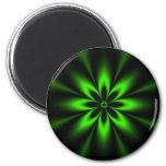 Fractal verde de la explosión de la flor iman de frigorífico