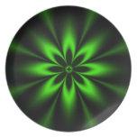 Fractal verde de la explosión de la flor platos