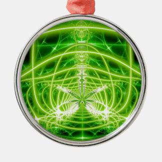 Fractal verde de la hoja del pote adorno navideño redondo de metal