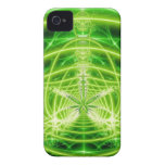 Fractal verde de la hoja del pote Case-Mate iPhone 4 carcasa