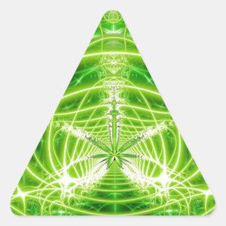 Fractal verde de la hoja del pote pegatina triangular