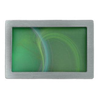 Fractal verde de la niebla hebillas de cinturón rectangulares