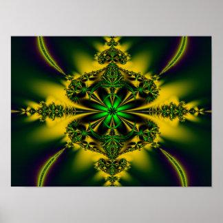 Fractal verde de neón póster