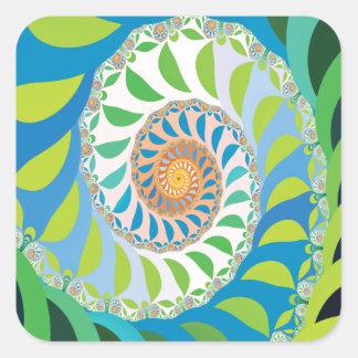 Fractal verde del espiral de la media luna pegatina cuadrada
