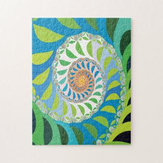 Fractal verde del espiral de la media luna rompecabezas