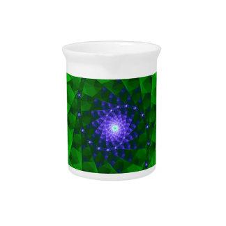 Fractal verde geométrico jarras de beber