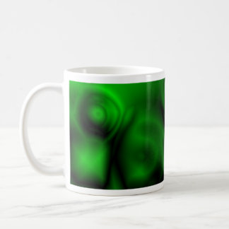 Fractal verde taza básica blanca
