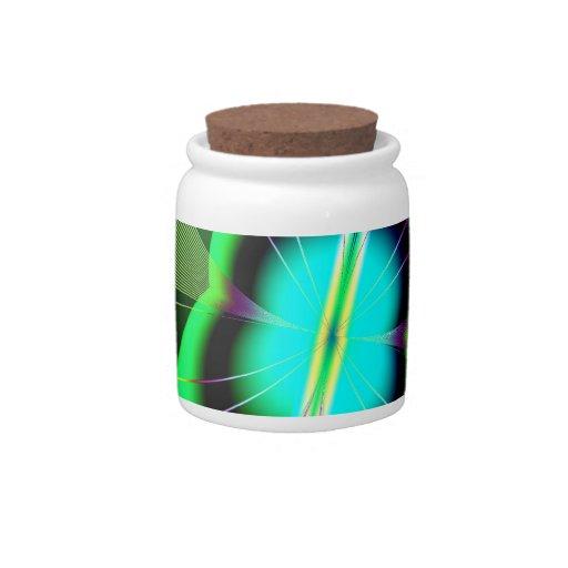 Fractal verde y azul de neón de la luciérnaga jarras para caramelos