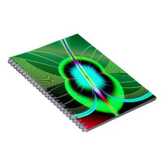 Fractal verde y azul de neón de la luciérnaga libro de apuntes